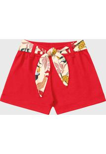 Bermuda Fakini Infantil Com Faixa Vermelha