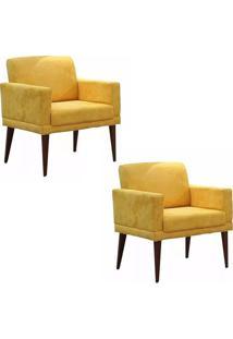 Kit 02 Poltronas Decorativas Emília Pés Palito Suede Amarelo - Ds Móveis