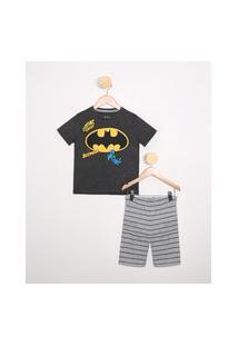Pijama Infantil Batman Manga Curta Gola Careca Preto