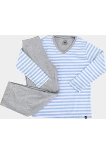 Pijama Infantil Lupo Longo Listrado Masculino - Masculino-Azul