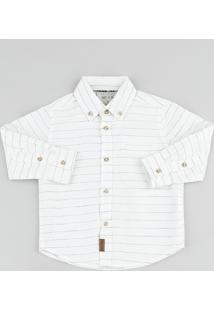 Camisa Infantil Listrada Com Bolso Manga Longa Off White