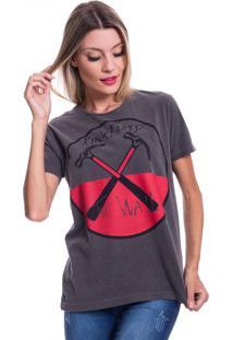 Camiseta Jazz Brasil The Wall Preto Estonado - Cinza - Feminino - Algodã£O - Dafiti