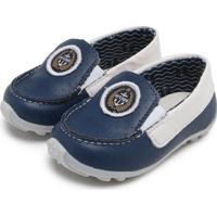 bcd1052a47 Mocassim Couro Ortopé Driver Baby Azul Branco