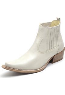 Bota Botina Country Couro Bico Fino Gaspariano Calçados Branca