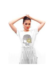 Camiseta Feminina Mirat Caveira Girassol Branco