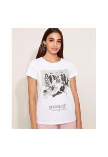 Camiseta Feminina Gossip Girl Manga Curta Off White