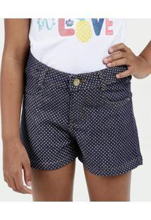 Short Infantil Jeans Estampa Bolinhas Marisa