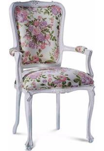 Cadeira Provençal Entalhada Em Madeira Com Pinturas E Tecidos Personalizáveis
