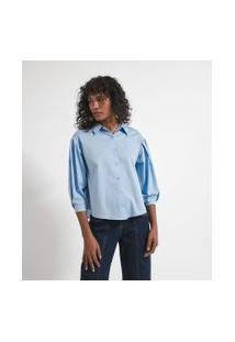 Camisa Manga Longa Bufante Com Pregas Em Tricoline | Marfinno | Azul | M