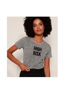 "Camiseta Feminina Cropped High Risk"" Flocada Manga Curta Decote Redondo Cinza Mescla Escuro"""