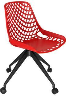 Cadeira De Cozinha Giratória Beau Design Vermelha E Preta