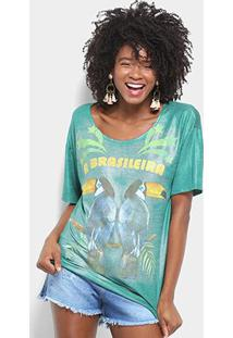 "Camiseta Farm ""A Brasileira"" Manga Curta Feminina - Feminino-Verde"