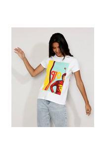 Camiseta Feminina Manga Curta Chapolin 1970 Decote Redondo Off White