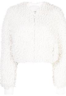 Tibi Jaqueta Bomber Cropped - Branco