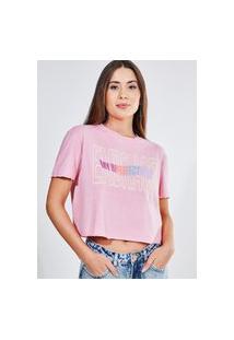 Camiseta Cropped Rosa Amplinha