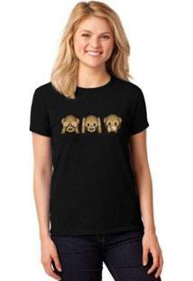 Camiseta T-Shirt Emoji Macacos Baby Look Feminina - Feminino-Preto