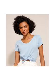 Camiseta Cropped Canelada Com Nó Manga Curta Decote V Azul