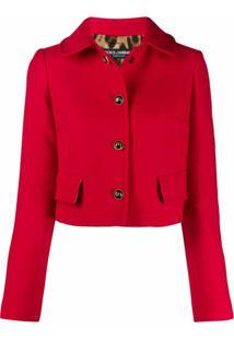 Dolce & Gabbana Jaqueta Cropped Com Abotoamento Simples - Vermelho