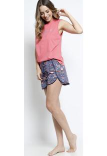 ae3531eb23 Short Doll Floral- Rosa   Azul Marinhodaniela Tombini