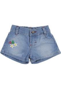 Short Jeans Infantil Deby Feminino - Feminino-Azul