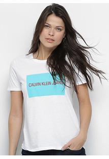 Camiseta Calvin Klein Manga Curta Feminina - Feminino-Branco