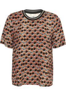 Camiseta Colcci Estampada Bege/Azul - Kanui