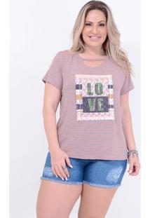 "T-Shirt Em Malha Choker Com Estampa: ""Love"" Listrada: Cinza Mescla: 52 - Cinza - Feminino - Dafiti"
