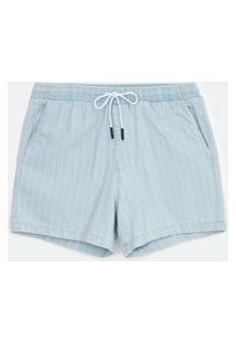 Bermuda Jeans Listrada Com Amarração | Blue Steel | Azul | P