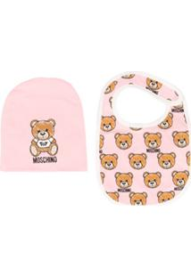 Moschino Kids Bear Print Hat Bib Set - Rosa