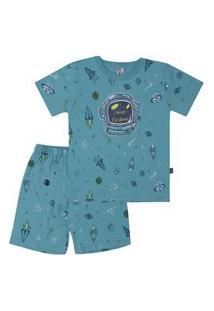 Pijama Meia Malha - 46553-1192 - (1 A 3 Anos) Pijama Rotativo Aqua - Primeiros Passos Menino Meia Malha Ref:46553-1192-1