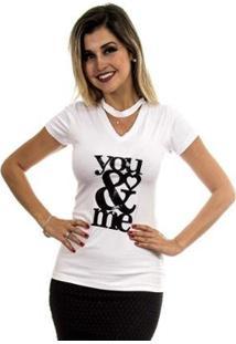 Camiseta 4 Folhas Com Apliques Feminina - Feminino-Branco