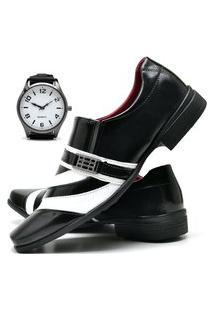 Sapato Social Masculino Com Verniz Db Now Com Relógio New Dubuy 632Od Preto