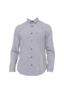 Camisa Calvin Klein Reta Bolso Cinza