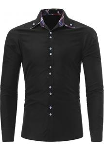 Camisa Masculina Casual Slim Manga Longa - Preto G