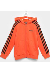 Jaqueta Moletom Infantil Adidas Essentials 3 Stripes Masculina - Masculino-Laranja+Preto
