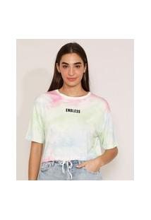 "Camiseta Cropped Ampla Estampada Tie Dye Endless"" Flocada Manga Curta Decote Redondo Multicor"""