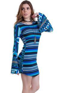 Vestido Manola Listrado - Feminino-Azul