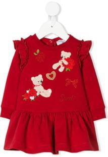 Monnalisa Vestido 'Teddy' Bordado - Vermelho