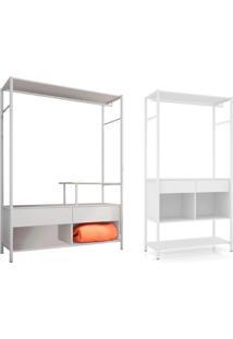 Conjunto De Guarda-Roupa Closet Modulado Paris Com Guarda-Roupa Closet Modulado Barcelona Branco