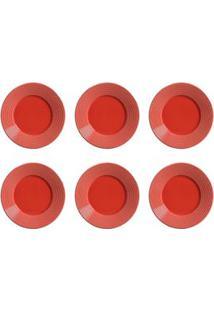 Conjunto De Pratos De Sobremesa Com 06 Peças Em Cerâmica Argos Vermelho - Porto Brasil