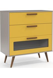 Comoda Retro Glass Cinza Amarelo Eco Wood