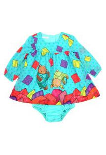 Vestido / Calcinha Infantil / Baby Em Voial De Poliester Estampado - Um Mais Um Turquesa