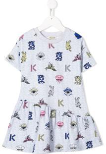 Kenzo Kids Vestido Com Ícones Orientais - Cinza
