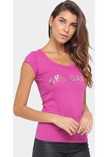 Camiseta Tigs Paetê Feminina - Feminino-Rosa
