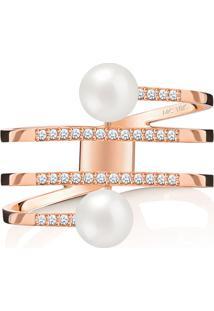 Anel Em Ouro Rosé 18K Com Diamante, Pérola 19