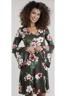 Vestido Estampado Floral Verde Militar