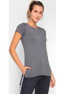 Camiseta Dooplex Alongada Fenda Feminina - Feminino-Mescla