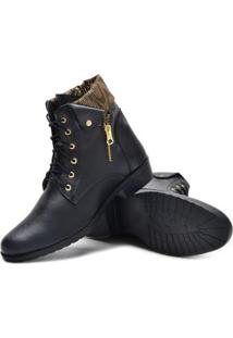 Bota Sw Shoes Cano Curto Estilo Feminina - Feminino-Preto