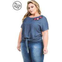 78e42a456 Blusa Jeans Plus Size - Confidencial Extra Com Amarração E Bordado Floral  Azul-Marinho