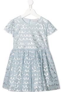 Stella Mccartney Kids Vestido Com Tule E Estampa Ondulada - Azul